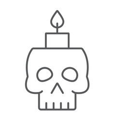 skull with candle thin line icon spooky and decor vector image