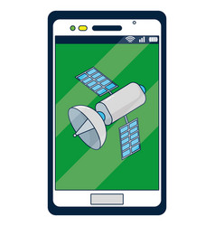 smartphone with satellite on screen vector image