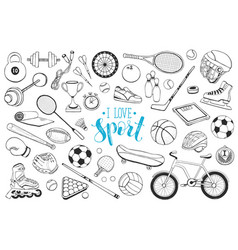 sport equipment sketches vector image