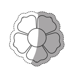 sticker monochrome contour with flower icon and vector image
