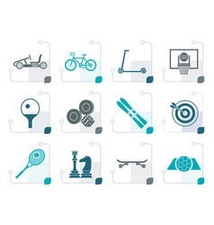 Stylized sports equipment and objects icons vector