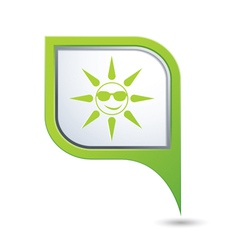 sun symbol on green map pointer vector image