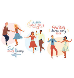Swind dance party time concept young couples are vector