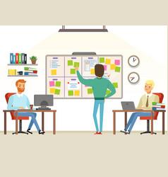 Team leader make planning tasks on the board vector