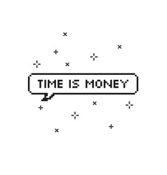 Time is money in speech bubble 8 bit pixel art vector