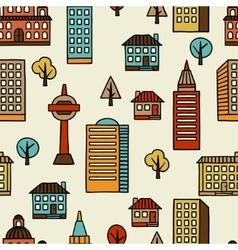 Town seamless pattern with hand drawn houses vector image vector image