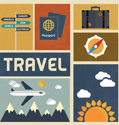 Travel icons set Retro Vintage design vector
