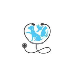 Veterinary stethoscope dog cat bird logo vector