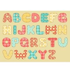 vintage quilt alphabet vector image