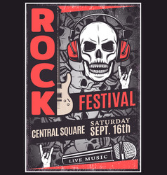 vintage rock music festival advertising poster vector image