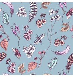 Vintage seamless background with flowers beetles vector image