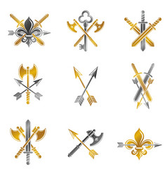 Vintage weapon emblems set heraldic coat of arms vector