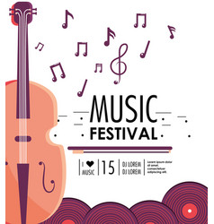 Violin instrument to music festival event vector