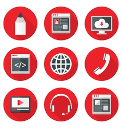 Website Icons Set over Red with Shadows vector image