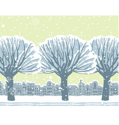 winter cityscape with snow-covered trees in park vector image