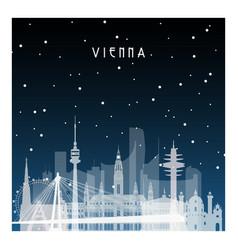 Winter night in vienna night city in flat style vector