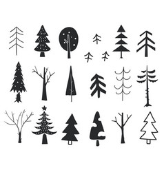 winter trees new year and christmas trees hand vector image