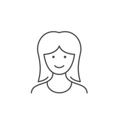 young woman line outline icon vector image