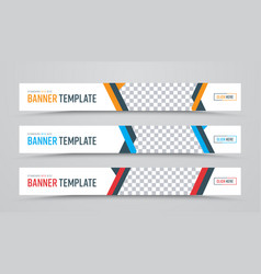 design of horizontal white banners of standard vector image