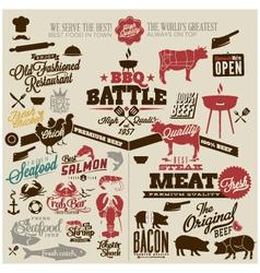 Meat works design elements vector image