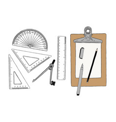 set of stationary hand draw element sketch vector image