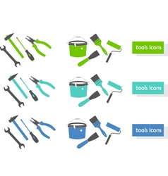 set of tools icons three colors vector image