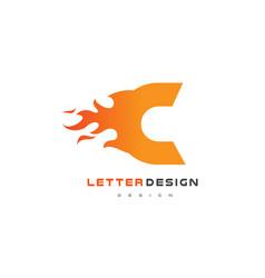 c letter flame logo design fire logo lettering vector image