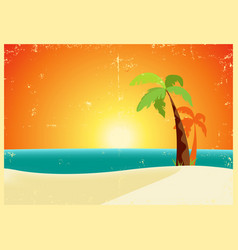 grunge tropical beach poster vector image vector image