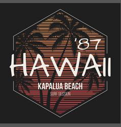 hawaii kapalua beach tee print with palm trees vector image vector image