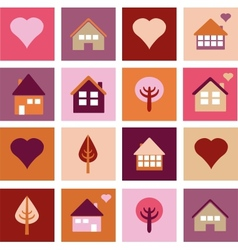 set of different houses and trees vector image vector image