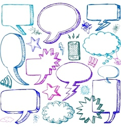 Set of Hand drawn Comical Speech Bubbles vector image vector image