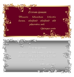 Vintage gold and silver frames for inscription vector image vector image
