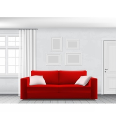 White interior and red sofa vector image