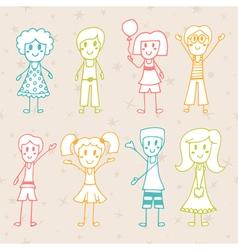 Collection of happy children hand drawn cartoon vector