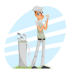 cool professional golfer player adjusts glove vector image