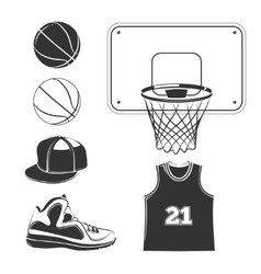 elements icons for basketball club labels vector image vector image