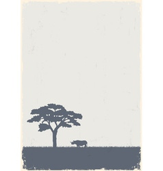 Silhouette of tree and rhino vector image vector image