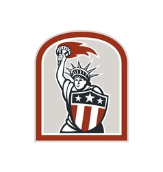 Statue of Liberty Holding Flaming Torch Shield vector image vector image