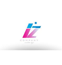 lz l z alphabet letter combination pink blue bold vector image vector image