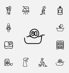 set of 12 editable cleaning outline icons vector image vector image