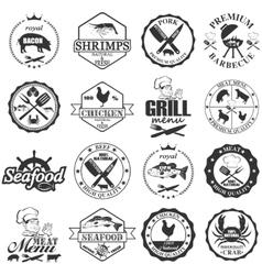 set of seafood labels and butcher shop labels vector image vector image