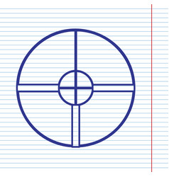 Sight sign navy line icon on vector
