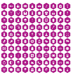 100 dress icons hexagon violet vector image