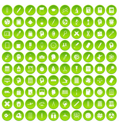 100 learning icons set green circle vector