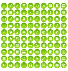 100 learning icons set green circle vector
