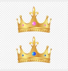 3d realistic golden crown set vector image