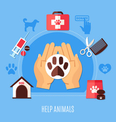animal protection volunteering composition vector image