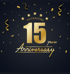 anniversary celebration design with gold confetti vector image