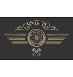 Auto Club emblem in vintage style vector