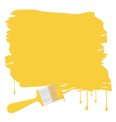 Background with yellow paintbrush vector